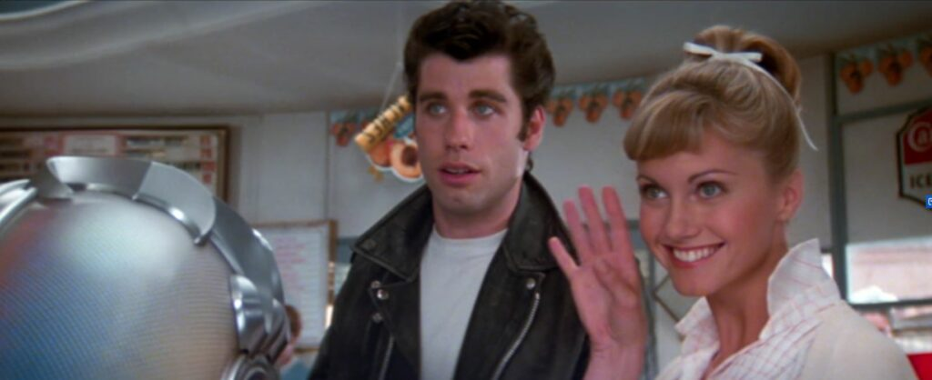 "John Travolta and Olivia Newton-John in ""Grease"""