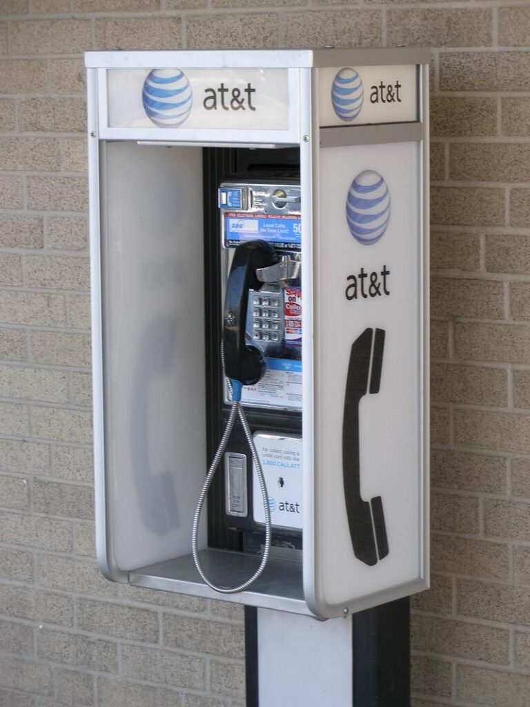 AT&T Public Phone.  By Brownings - Own work, Public Domain, https://commons.wikimedia.org/w/index.php?curid=1069794