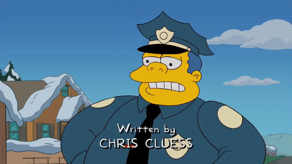 "Chris Cluess Writing Credit on The Simpsons - ""Donnie Fatso"" (2010)"