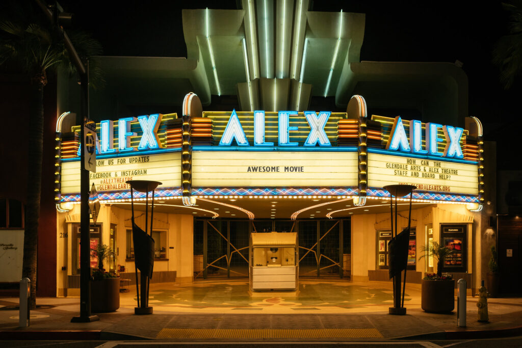 Glendale, California's Alex Theater marquee. Original photo via The New York Times.