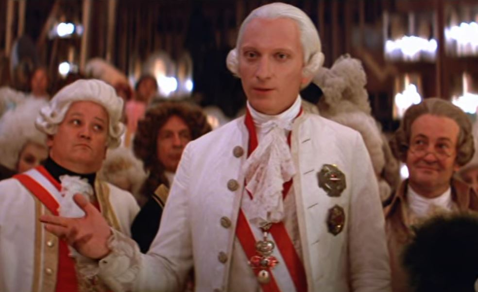 "Jeffrey Jones in ""Amadeus"" (1984) complaining about the amount of notes."