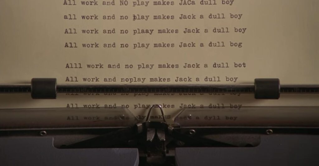 """The less-than-stellar results of Jack Torrance's novel writing efforts in """"The Shining"""" (1980)."""