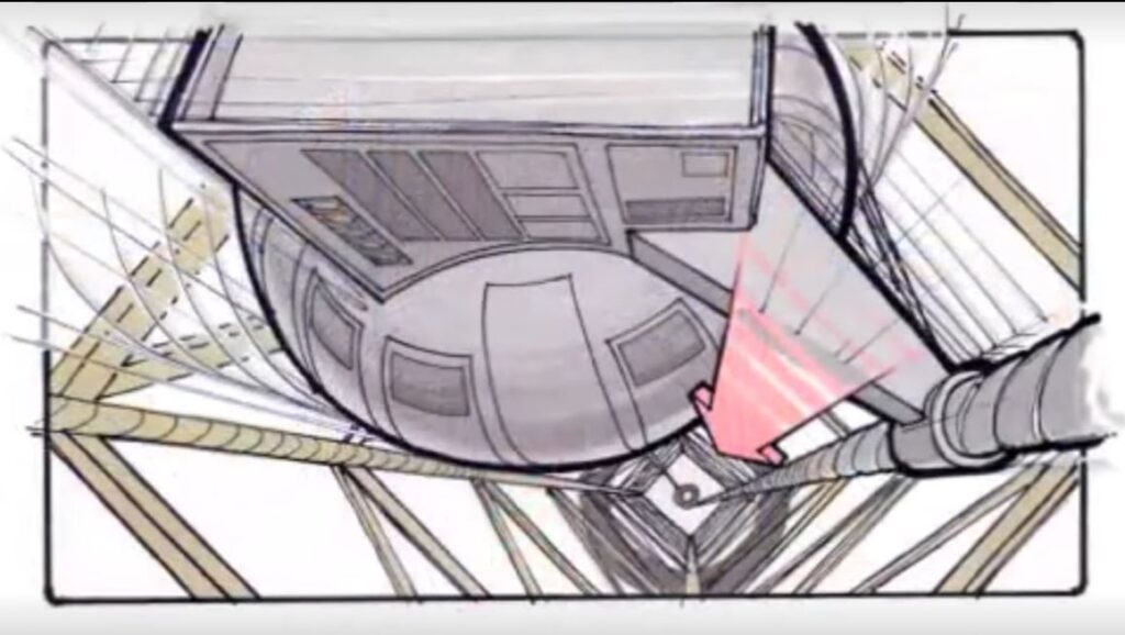 """Storyboard showing the originally-scripted atomic test that would power Marty's return home in """"Back to the Future"""" (1985)"""