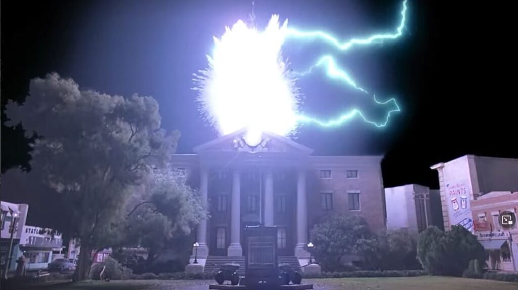 """Lightning strikes the clock tower in """"Back to the Future"""" (1985)"""